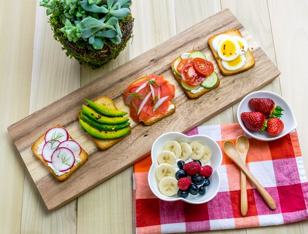 Easy Breakfast Sampler: Five different toppings on Brioche toast.