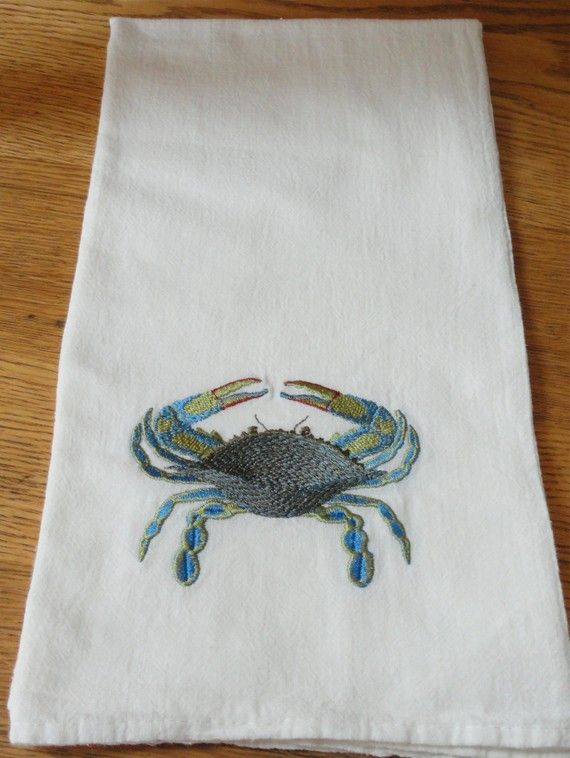 Machine Embroidery Blue Crab Flour Sack Towel Kitchen