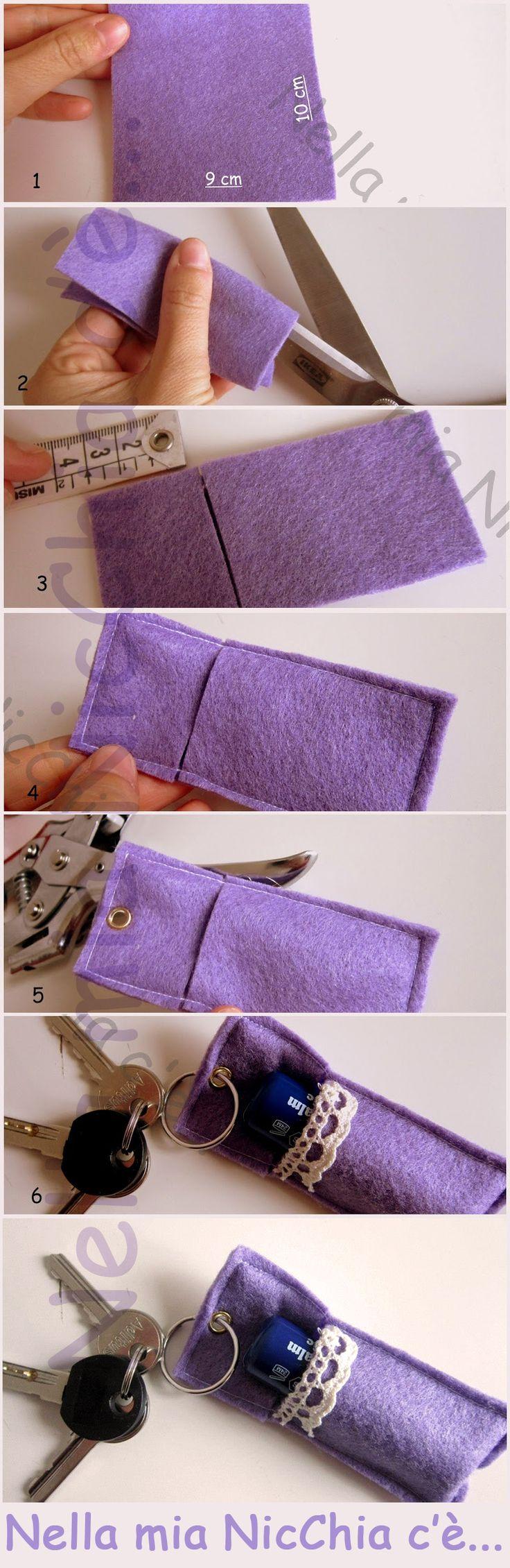 #tutorial Portachiavi in panno con contenitore   keychain in cloth DIY
