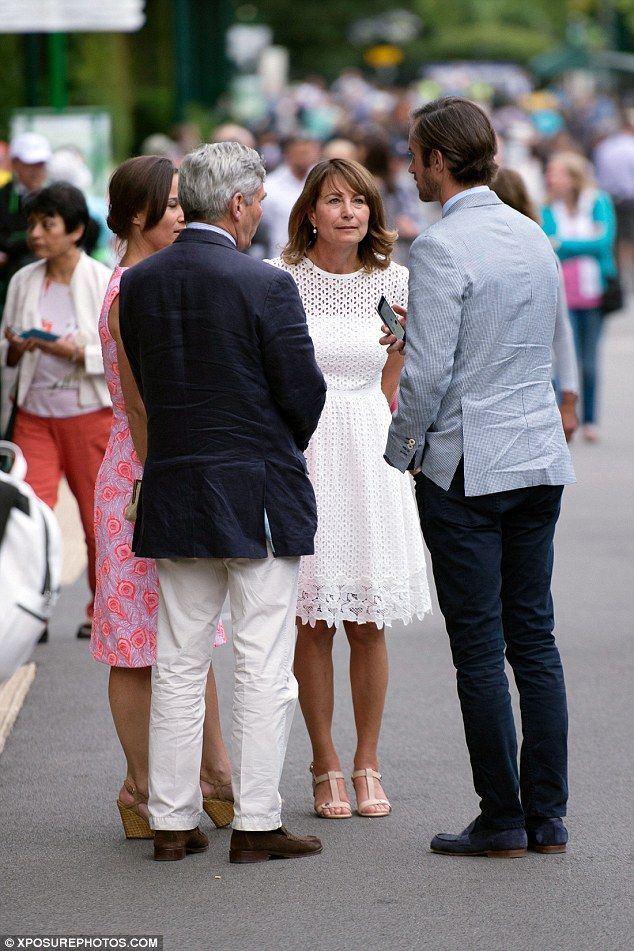 Pippa Middleton, Carole Middleton, Michael Middleton and Pippa's fiance James Matthews leave Wimbledon together last week