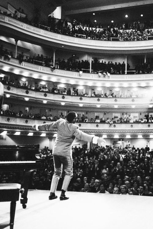 "avagardner: "" Ray Charles singing, with arms outstretched, during performance at Carnegie Hall, photographed by Billy Ray, 1966. """