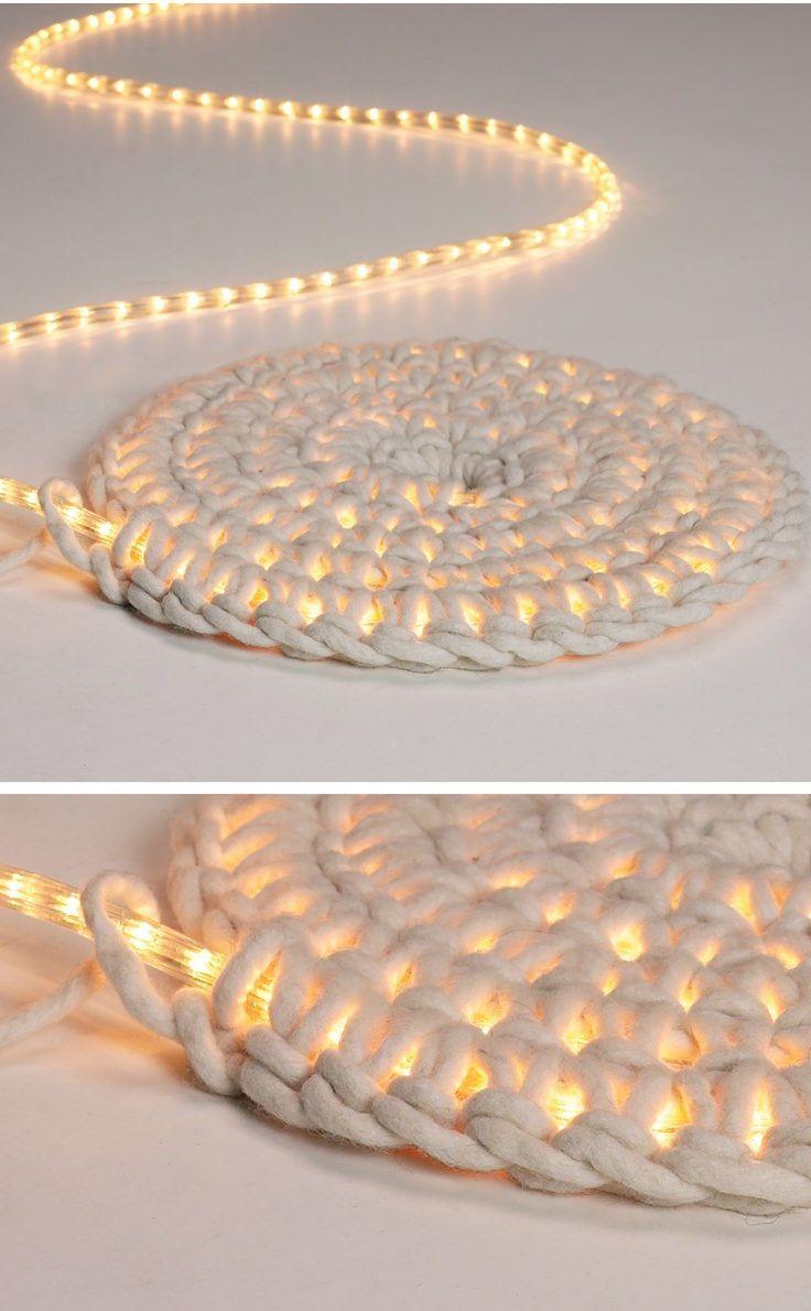 LED Lichterkette umhäkeln als Teppich http://schoenstricken.de