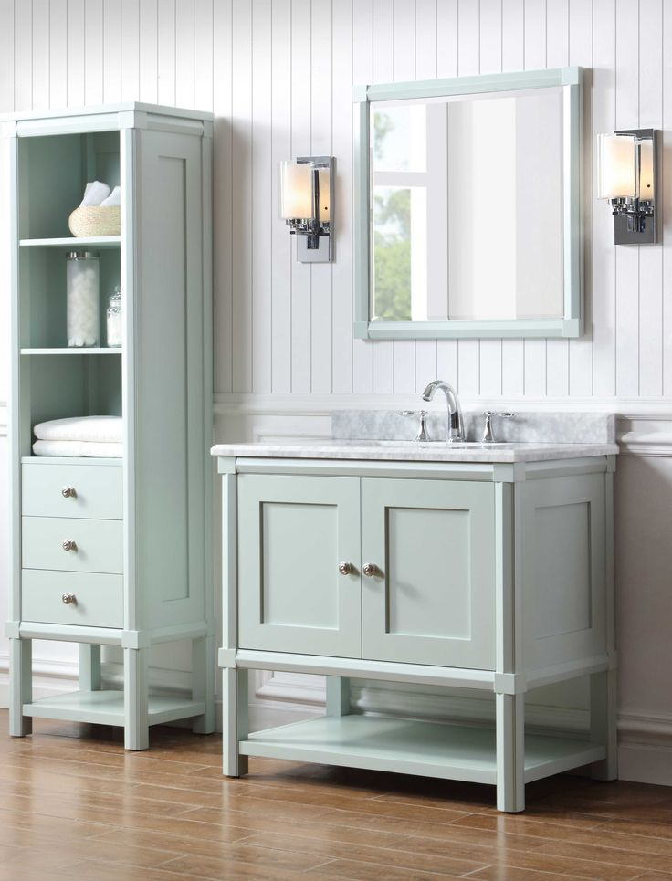 Martha Stewart Living Sutton 36 In W X 22 In D Vanity In Rain Water With Marble Vanity Top In White Grey With White Basin