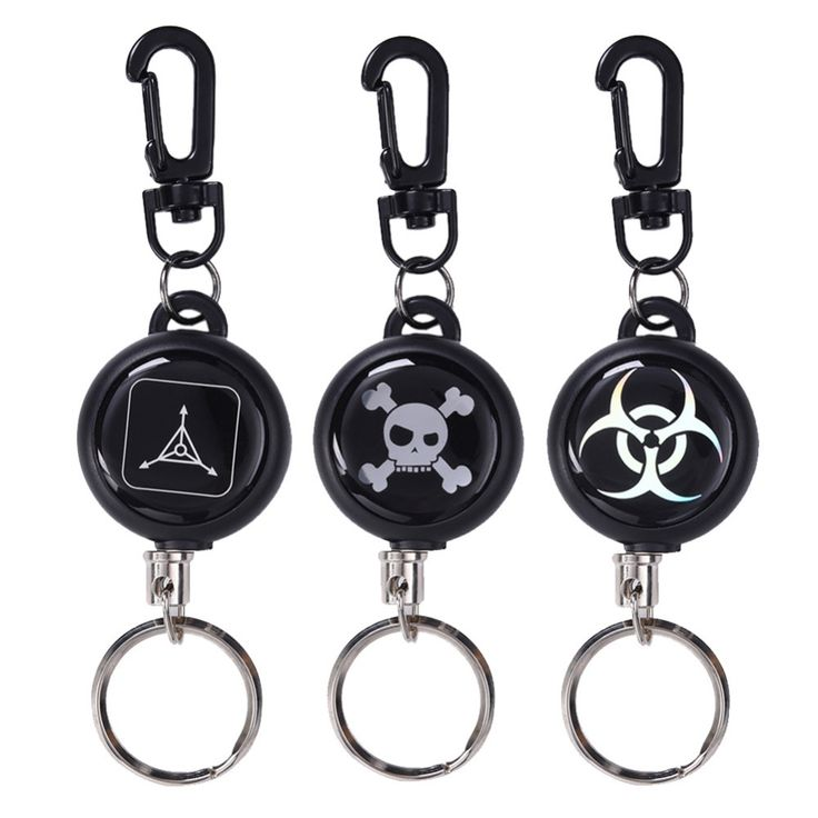 EDC retractable key chain 60CM steel cord skull keychain recoil tag key card holder belt chip multifunction outdoor tool