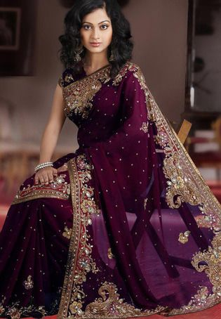 Engagement Saree? Wine Faux Georgette Saree with Blouse http://www.utsavfashion.com/saree/wine-faux-georgette-saree-with-blouse/slssk4800-itemcode