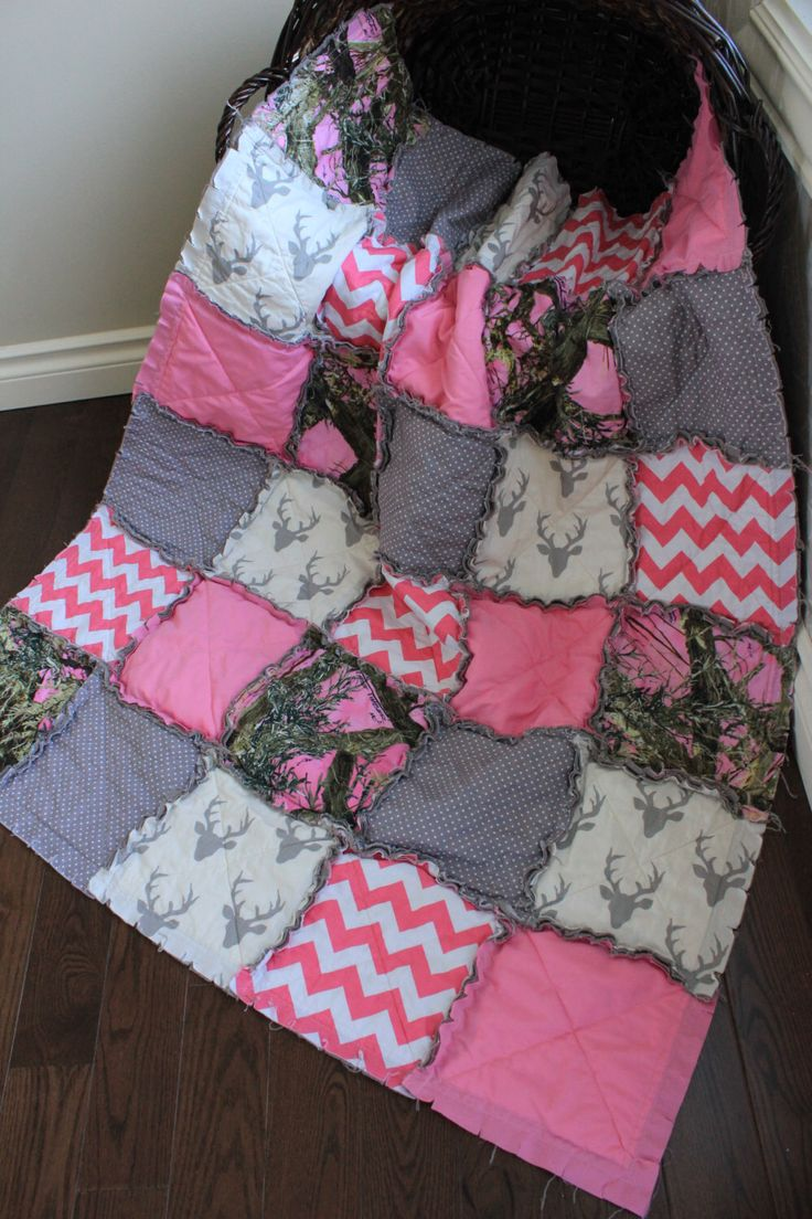 Baby Girl Rag Quilt, Pink Camo Baby Quilt, Real Tree Camo Quilt, Girl Camo And Deer, Crib Quilt, Made To Order by RozonsRags on Etsy https://www.etsy.com/listing/190566348/baby-girl-rag-quilt-pink-camo-baby-quilt