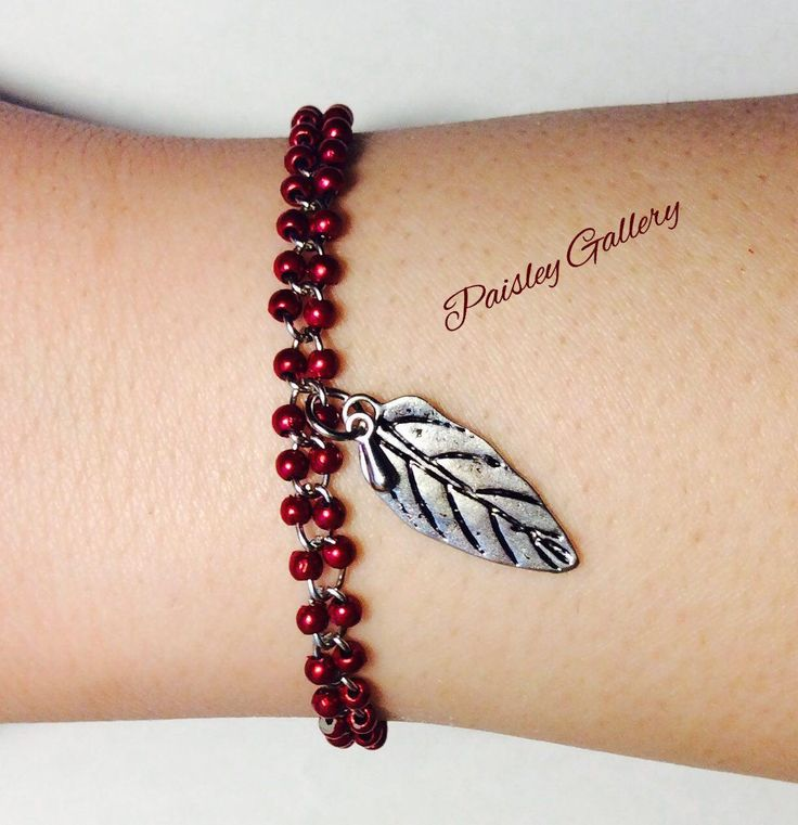 Red Leaf, Beaded charm  Bracelet, Steal chain, Steal hang decoration, New style, Stylish, Unique, WEll designed, handmade Bracelet by PaisleyGI on Etsy