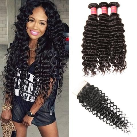 Klaiyi Brazilian deep wave virgin human hair buindles with closure