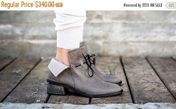 CIJ verkoop leren laarzen grijs laarzen handgemaakte laarzen