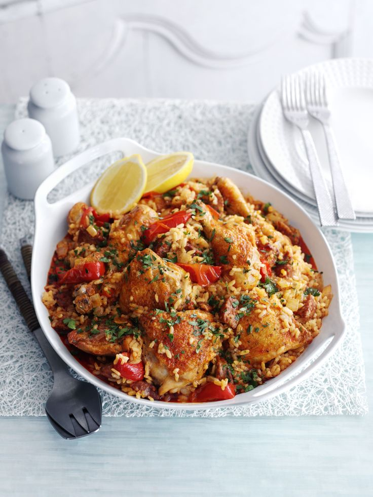 Baked Spanish rice with chicken and chorizo - a spicy Spanish one pot. Made with chicken and chorizo and plenty of hot smoked paprika, this is a gutsy rice dish.