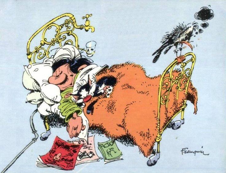 """Gaston Lagaffe, personnage de fiction créé par André Franquin dans le magazine de bande dessinée """"Le Journal de Spirou"""" en 1957, puis en album dans la série Gaston à partir de 1960. C'est l'anti-héros par excellence."""
