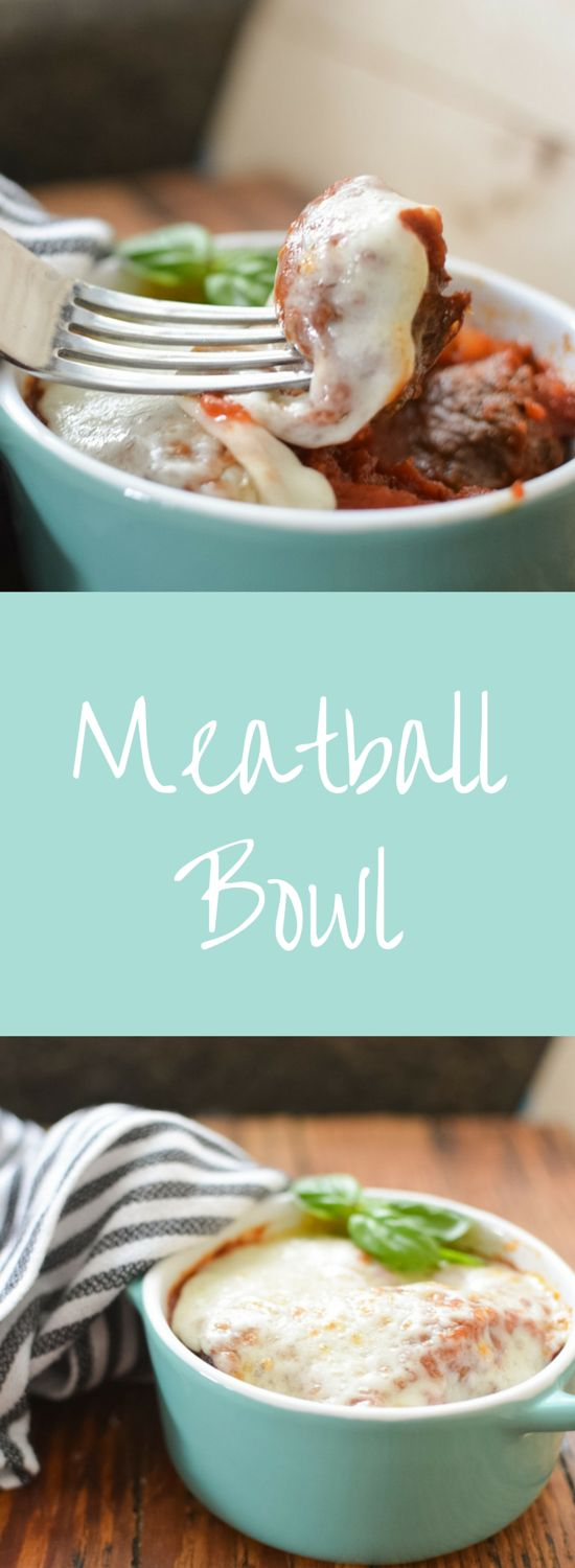 Meatball Bowl a Hearty Low Carb Meal.  Served with a simple Marinara sauce this Meatball Bowl recipe makes a hearty meal.  Super low carb and leaner than traditional meatballs this filling Meatball Bowl is a delicious dinner or lunch!