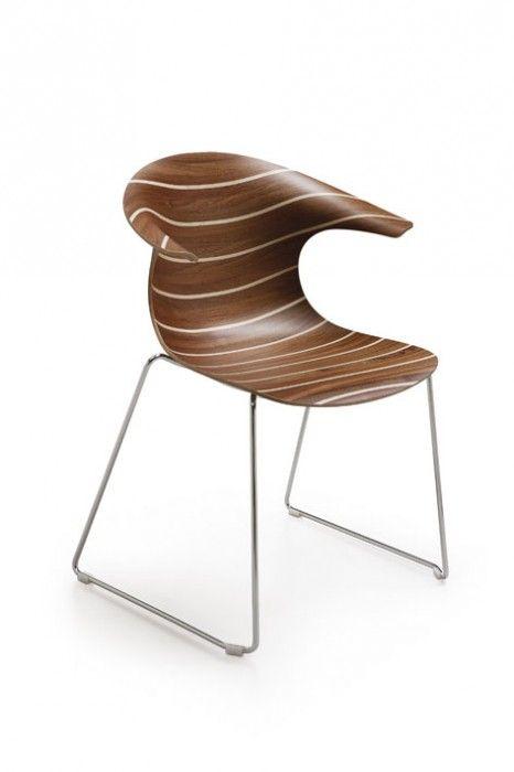 LOOP - Chaise pied traineau, finition bois - Design Claus BREINHOLT - INFINITI