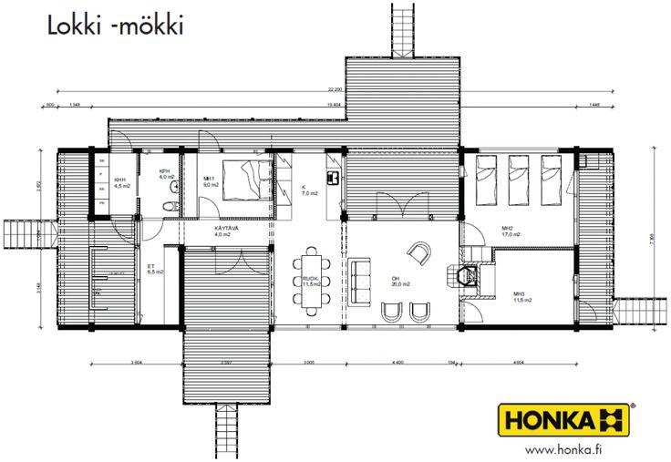 Honka Blockhaus Modell Lokki Grundriss