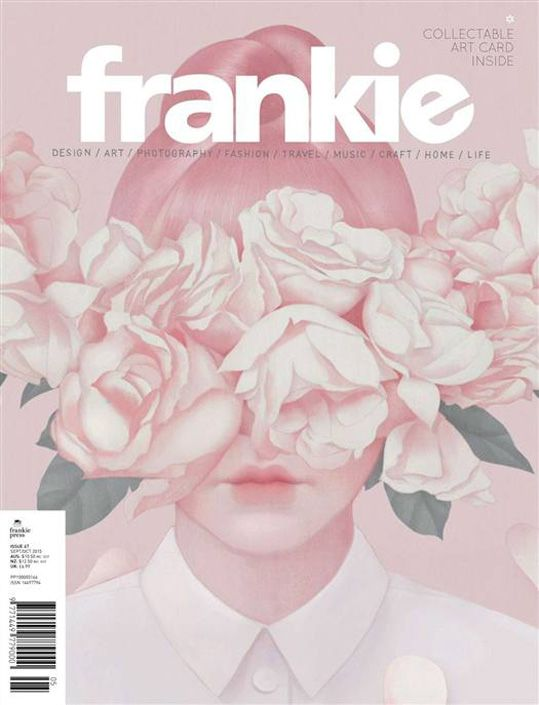 I actually owned this one, but I had to abandon it in Singapore as my bag was too too heavy!  Frankie Magazine's cover always uses the bold white font placed centrally, creating consistency. More often than not the cover is illustrated, but sometimes a photo (usually of a female). Usually pastel, creating a nice contrast with the white and hinting at the girly loveliness inside. Textured paper. This makes it feel more crafty / earthy / ethical.  #frankie #balance #contrast #pastel