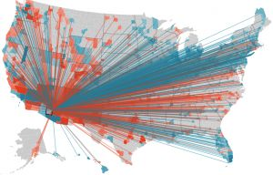 Interactive immigration map.  Shows where people move to and from in each county in the US.