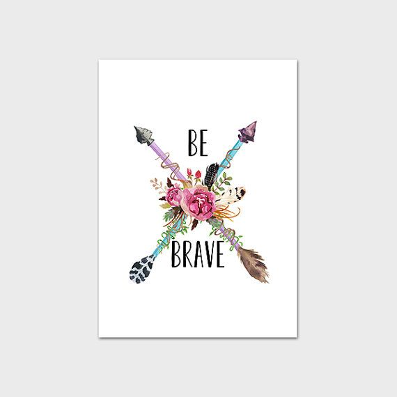 Tribal Nursery Printable Art Print Arrow Be Brave Wall Art Aqua Pink Floral Feather Girl's Room Decor Native Decoration 5x7 Instant Download