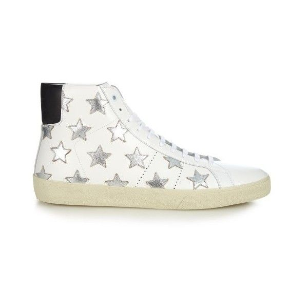 Saint Laurent Star-embellished high-top leather trainers (246.880 CLP) ❤ liked on Polyvore featuring men's fashion, men's shoes, men's sneakers, shoes, white multi, mens high top sneakers, mens white high top sneakers, mens leather shoes, g star mens shoes and mens high top shoes