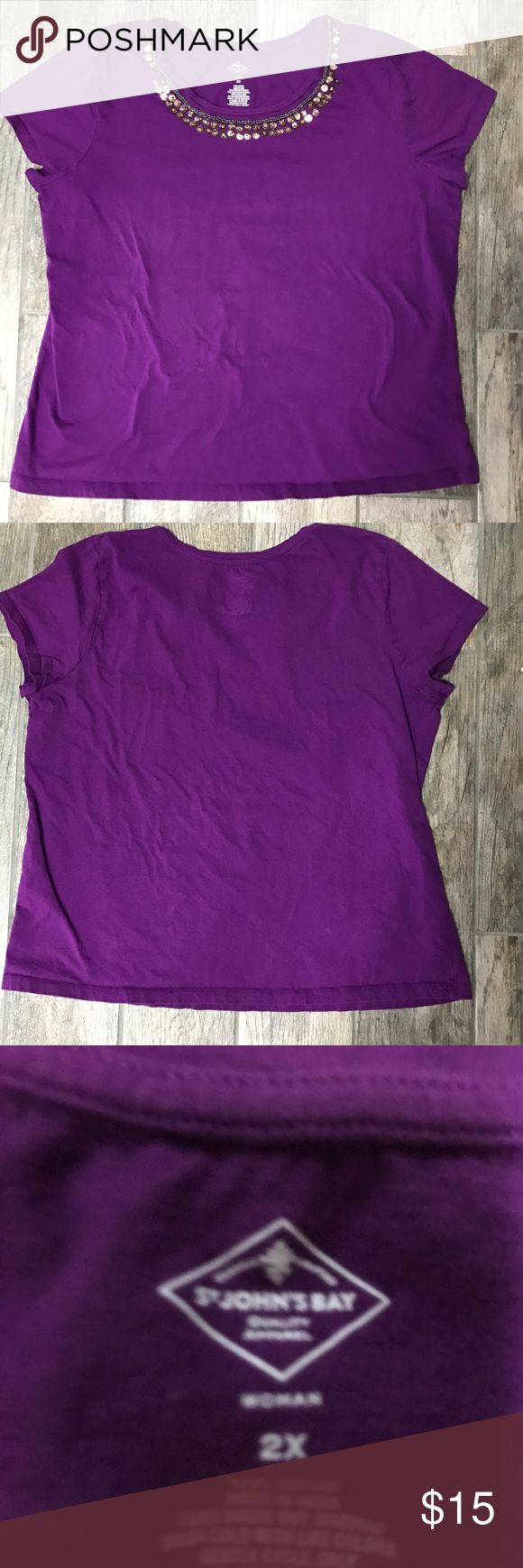 St. John's Bay Purple tee Beautiful purple tee with beading and sequins around neckline.  100 % cotton. Good condition with normal wear. Offers welcome. St. John's Bay Tops Tees - Short Sleeve