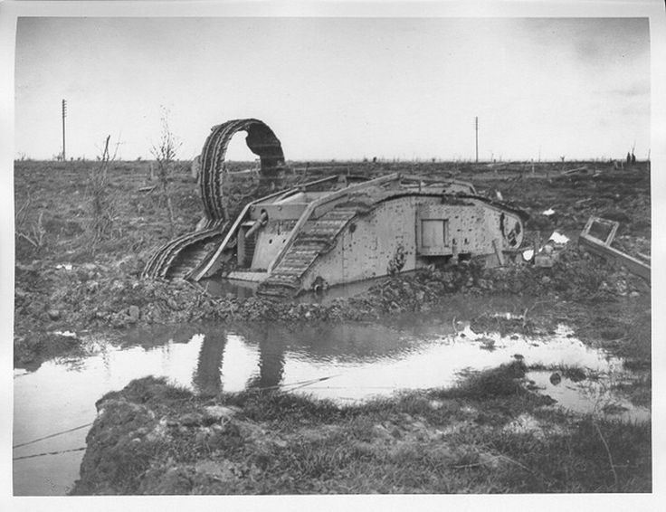 The Third Battle of Ypres (Passchendaele) 31 July-10 November 1917 A knocked out British tank half submerged in mud and water near St Julien, 12 October 1917.| First World War Poetry Digital Archive