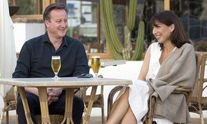 David Cameron and his wife Samantha on holiday in Lanzarote.
