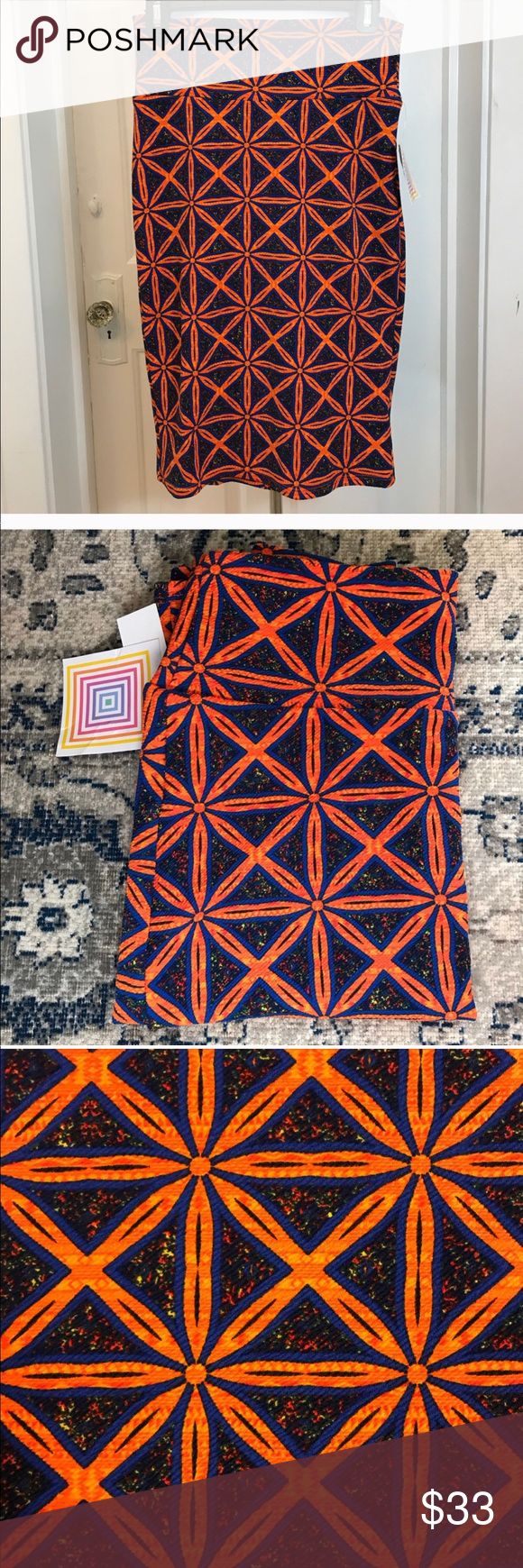 LULAROE: Multi-color Geometric XS CASSIE Skirt LULAROE. Stunning orange and blue geometric print XS Cassie Skirt! New with tags and perfect for a gift or for personal use! Please ask questions prior to purchasing and leaving a less than five star review. Your satisfaction is very important to me. Bundle up and make an offer! ❤️ LuLaRoe Skirts