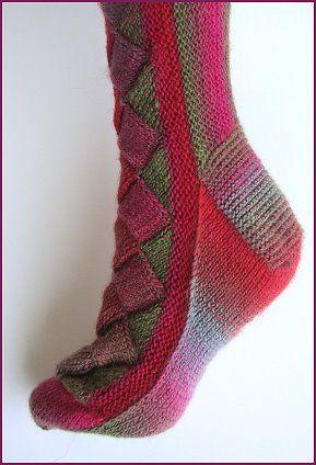 Mini Mochi Entrelac Panel Sock pattern - free sock pattern from  Crystal Palace Yarns