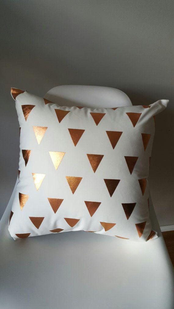 HOWARD Copper Foil White Geometric Triangle Print door HarlieandCo