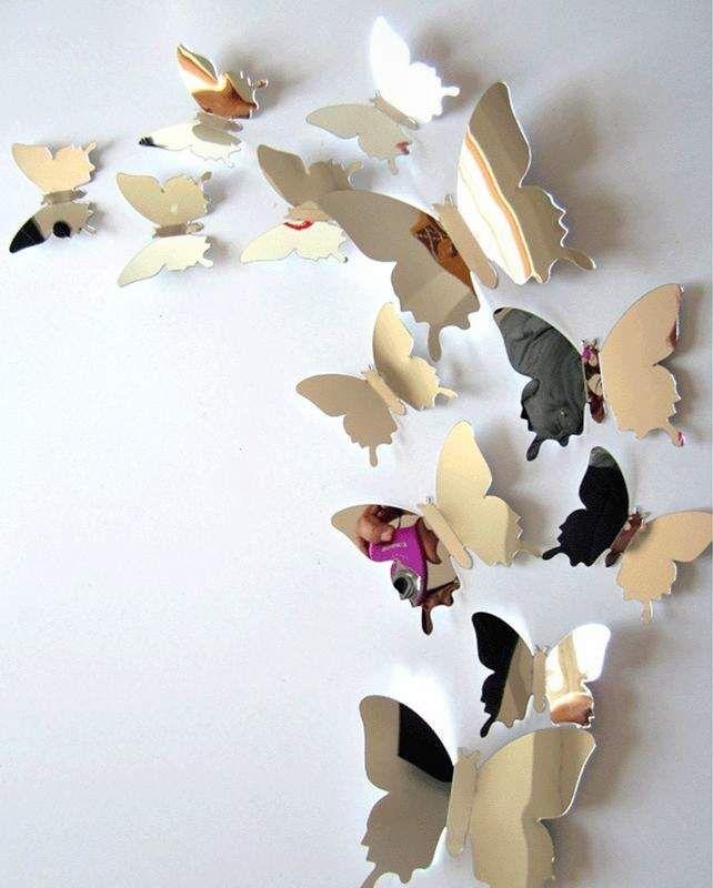 Декоративные серебристые зеркальные бабочки для декора стен помогут преобразить Вашу комнату и создать стильный интерьер.