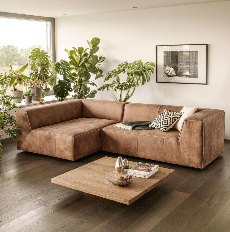 Ecksofa RANCHO, Leder, Braun, B280 H69 T162 cm - Ecksofas - wohnzimmer ideen braune couch