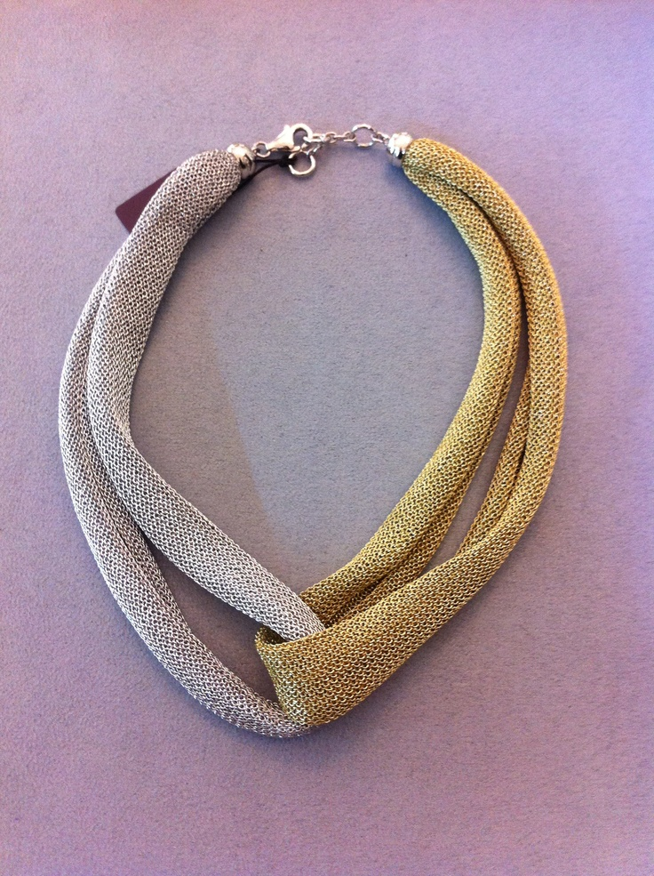 necklace and silver metallic fabric. very light and soft   €93