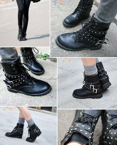 Lady's Women's Cool Punk Style Lace Up Rivet Fashion Ankle Boots Biker Black New | eBay