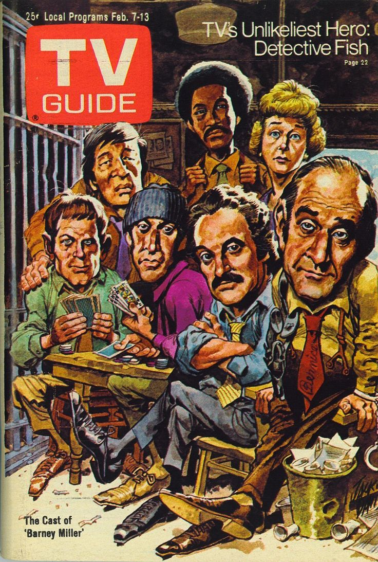 TV Guide, February 7, 1976 — Barney Miller (1975-82, ABC), illustration by Jack Davis