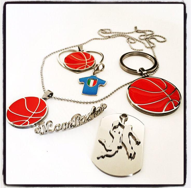 Basket pallacanestro ciondolo collana necklace colgante bracciale bracelet pulsera portachiavi keyring