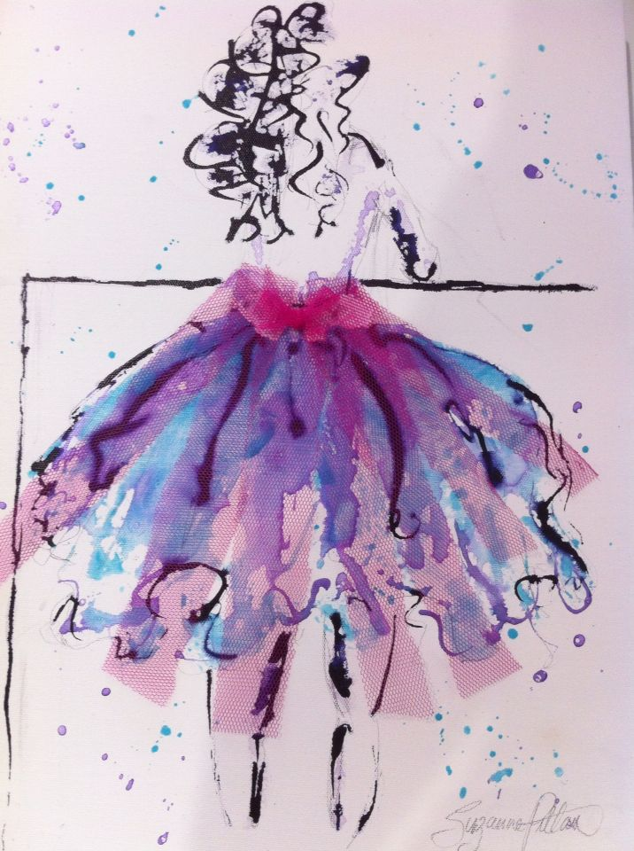 SOLD!! Pink tulle lady - inks & acrylic on canvas. Now for sale at Cafe Jilarty at Rainbow, Rainbow Beach.