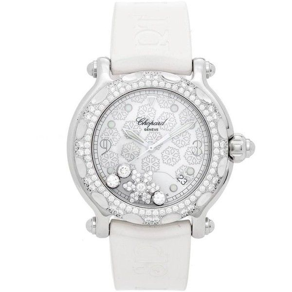 Preowned Chopard White Gold Stainless Steel Happy Sport Snowflake... (31.280 RON) ❤ liked on Polyvore featuring jewelry, watches, white, wrist watches, quartz jewelry, pre owned watches, quartz wrist watch, quartz watches and pre owned jewelry