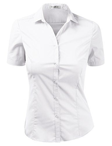 MakeMeChic Womens Slim Fit Short Sleeve Cotton Spandex Button Down Shirt  with Plus Size 9c811b09d0