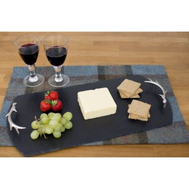 Just Slate Large Slate Serving Tray with Antler Detail Handles