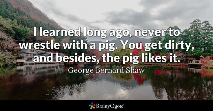 I learned long ago, never to wrestle with a pig. You get dirty, and besides, the pig likes it. - George Bernard Shaw