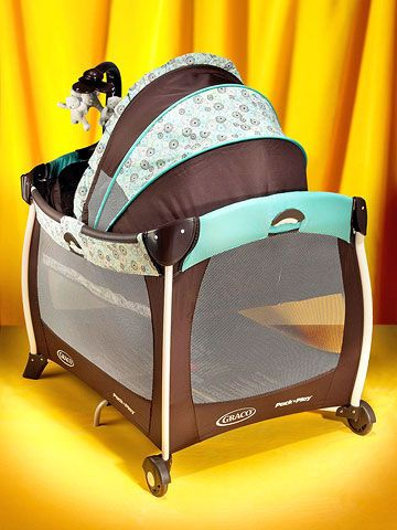 "These portable play yards have become so jazzed up that they now practically rival traditional baby furniture. You can find versions with mobiles, storage, and more. ""Mine is totally multipurpose...it's a bassinet, crib, playpen, and changing center,"" says Jamie Shurkowski, of Norwich, Connecticut. Shown: the Milan pattern ($50-$230; gracobaby.com)."
