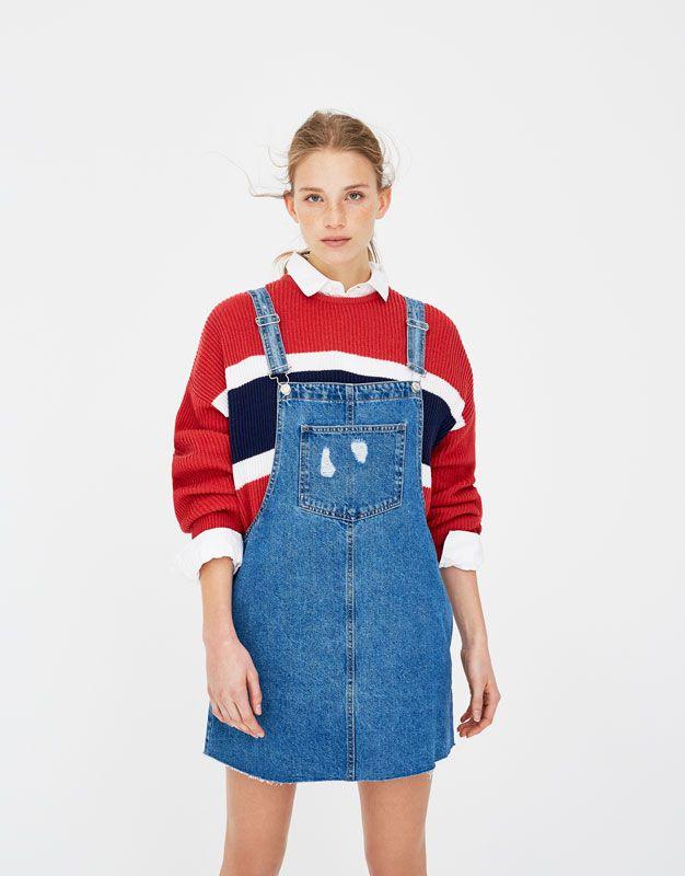 Pull Bear - mujer - ropa - overoles y jumpsuits - overol falda mezclilla  con bolsillos - azul - 05638304-V2018 0800f14e9d3b