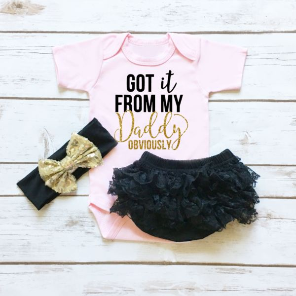 You know, when your daughter looks JUST like her Daddy! Got it From My Daddy Baby Girl Outfit.