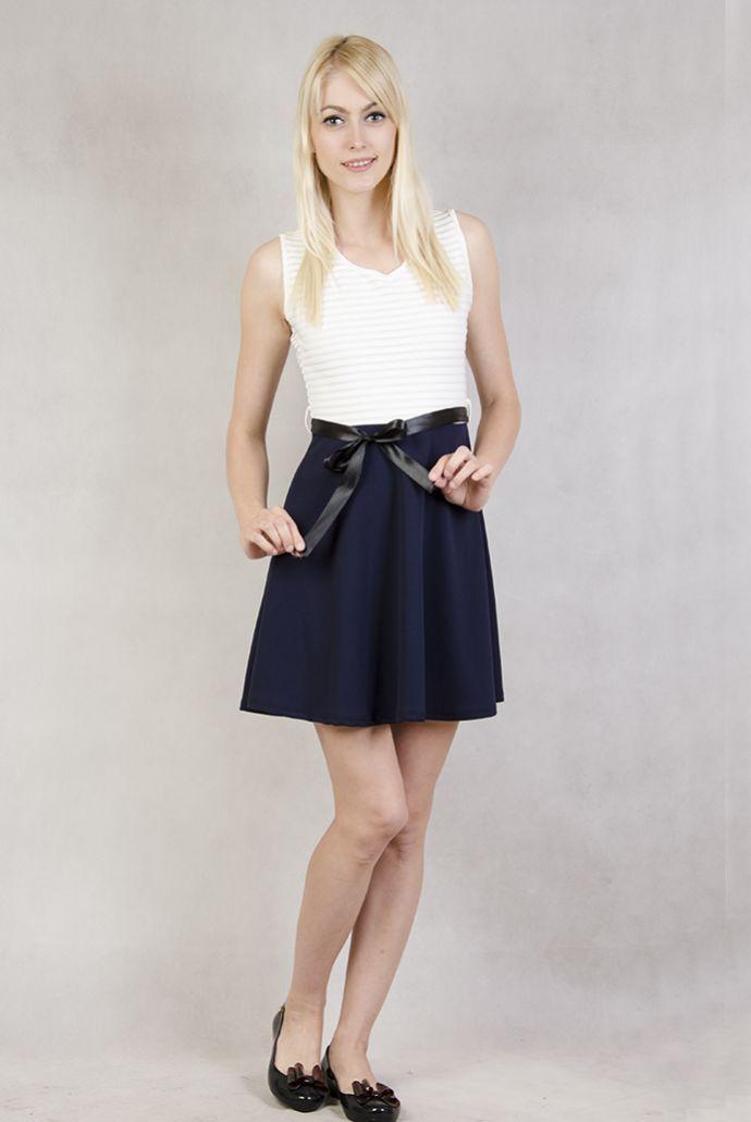 Sukienka biało-granatowa ze wstążeczką
