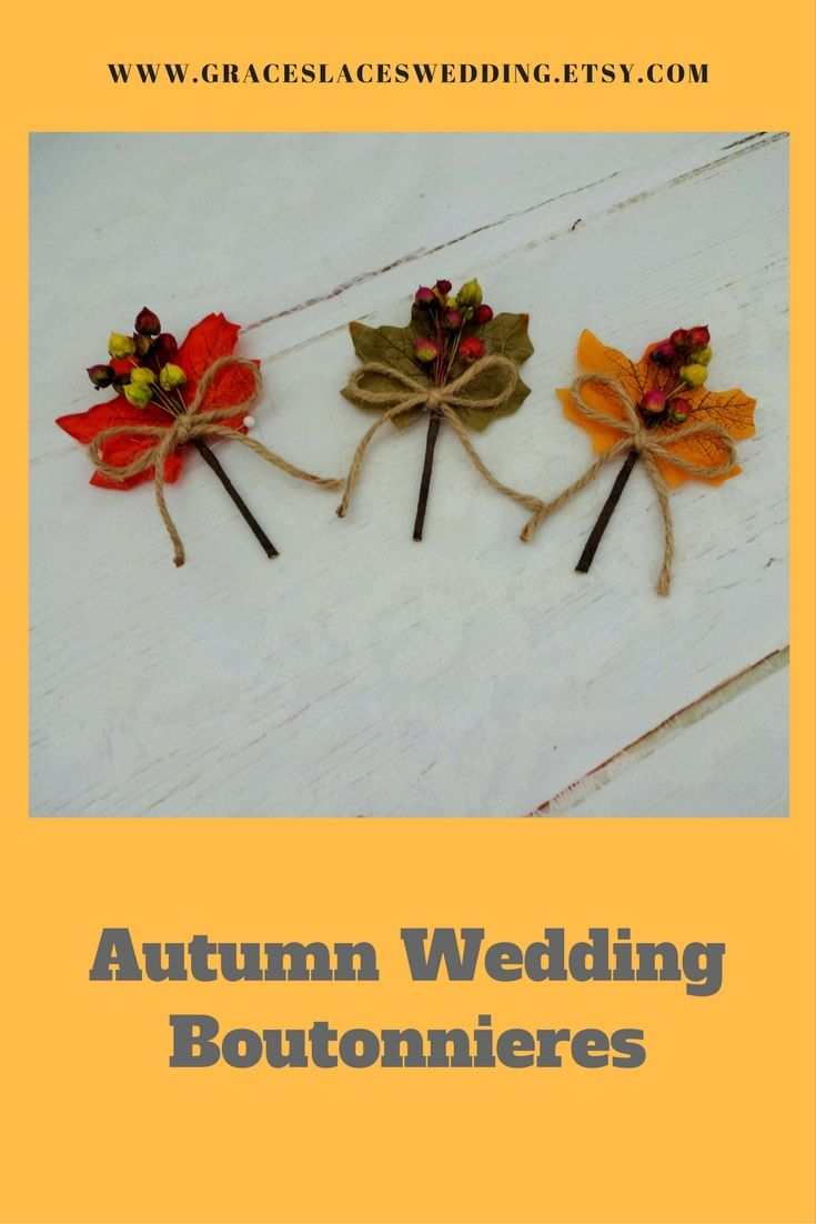 Autumn wedding lapel pin composed of artificial leaves and dried flowers.  #autumnwedding #fallwedding #autumnboutonniere #autumnlapelpin #groomsboutonniere