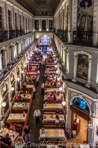 "At night in #Istanbul, the ""Cicek Pasaji"" or ""Flower passage"" - a rococo-style building, dating from 1876, which is famous for its restaurants, fish market and small shops."
