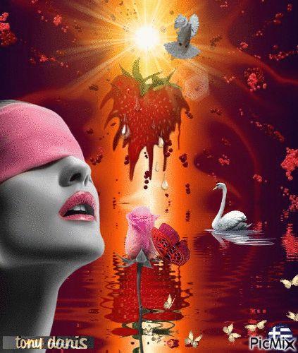 Blind love/aveugle Amour /  original backgrounds, painting,digital art by tonydanis GREECE HELLAS fantasy fantasia 3d animation imagination gif peace love