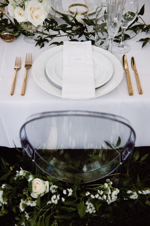 Ghost Chair, Greenery, + Gold details                                                                                                                                                                                 More