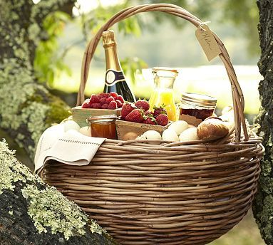 Found this in the store on sale from $99 to $24, it huge and fabulous! Rattan Basket #potterybarn.  For picnics