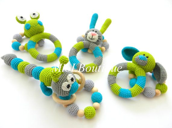 Baby rattle Baby teething SET of 2 Crochet by MioLBoutique on Etsy