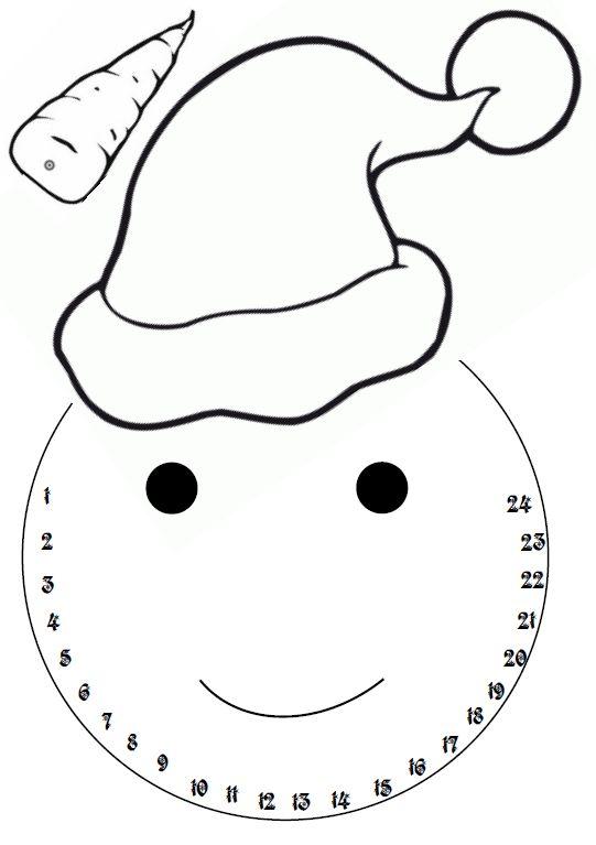 calendrier de l'Avent bonhomme de neige- jeuxdecole
